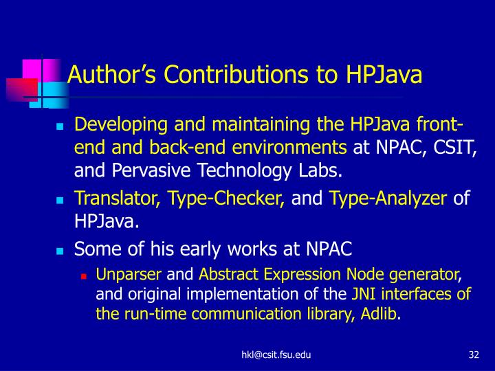 Author's Contributions to HPJava