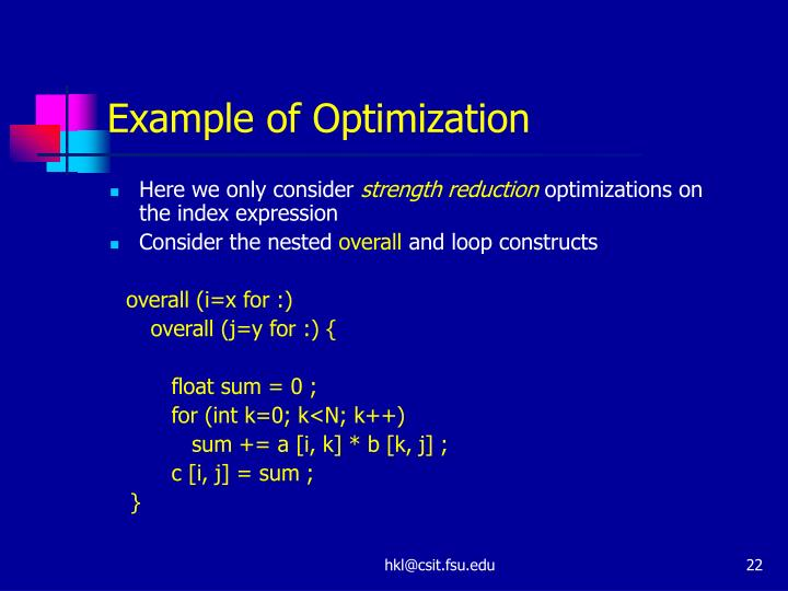 Example of Optimization