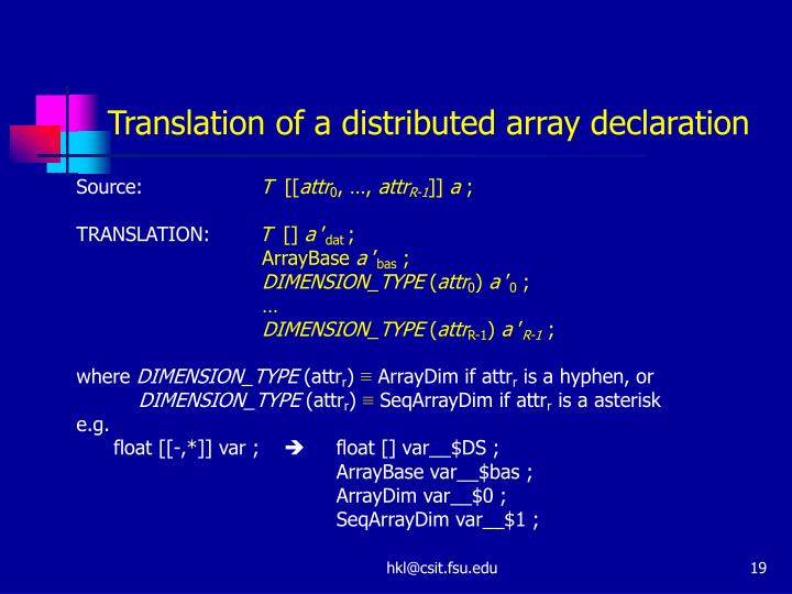 Translation of a distributed array declaration