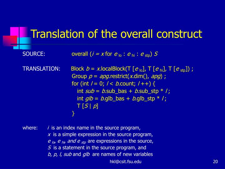 Translation of the overall construct