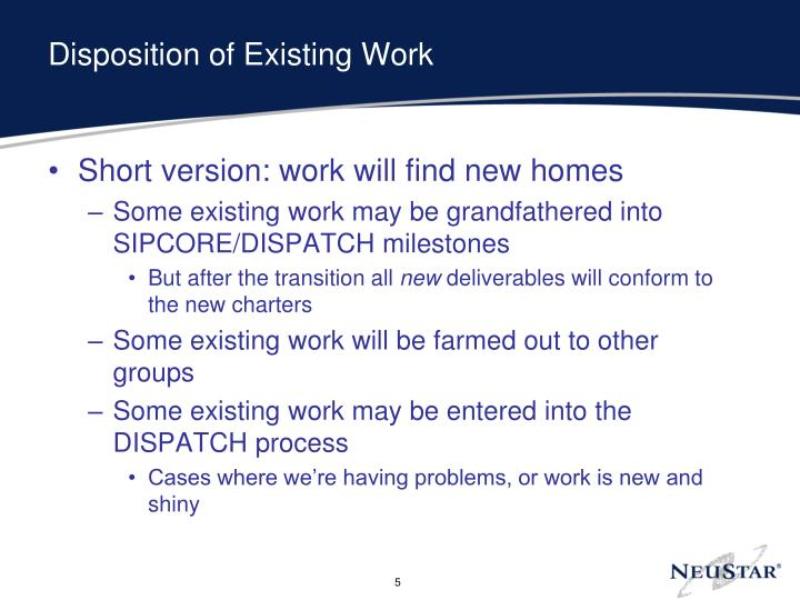 Disposition of Existing Work
