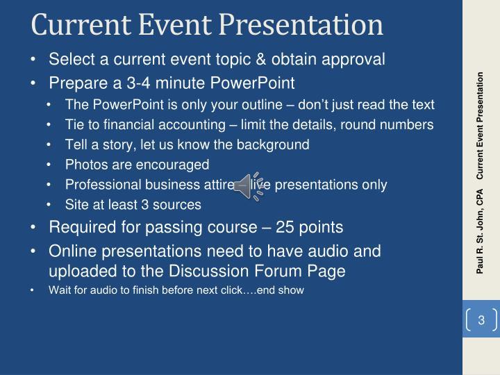 Current Event Presentation