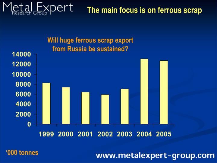 The main focus is on ferrous scrap