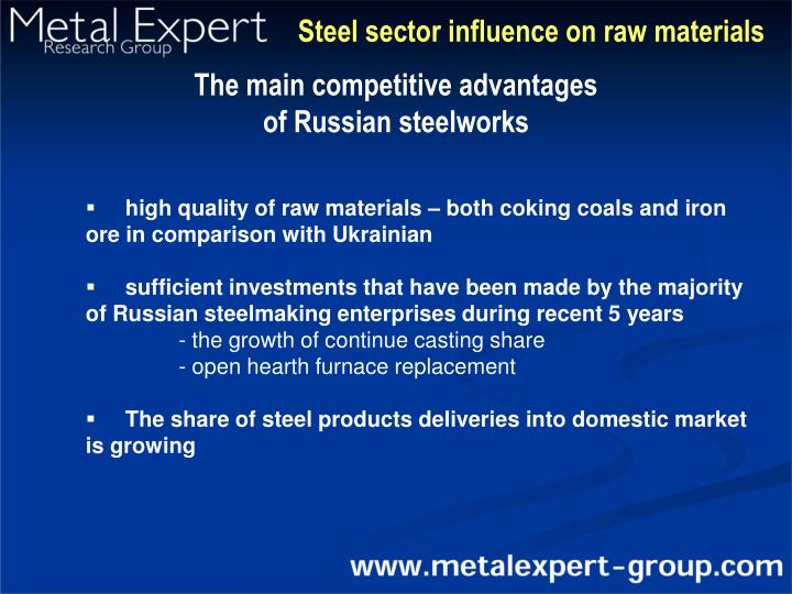 Steel sector influence on raw materials