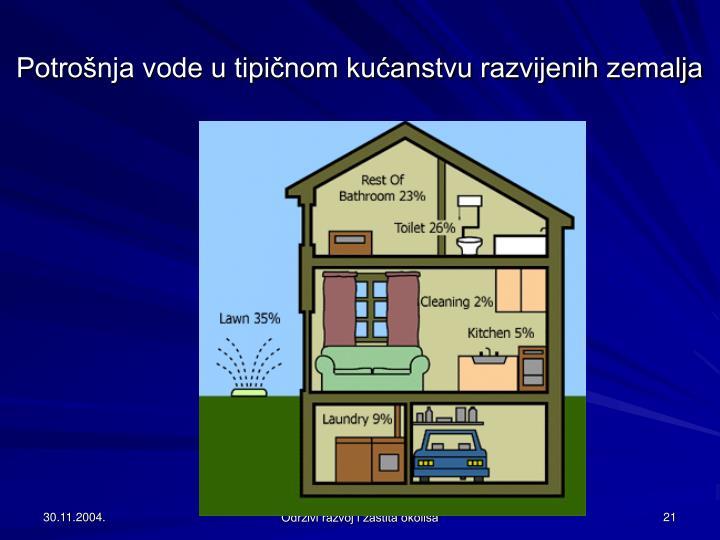 Potrošnja vode u tipičnom kućanstvu razvijenih zemalja