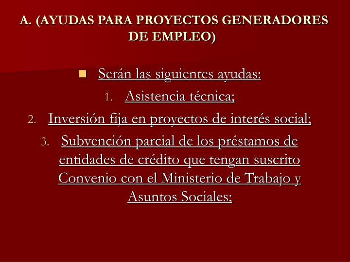 A. (AYUDAS PARA PROYECTOS GENERADORES DE EMPLEO)
