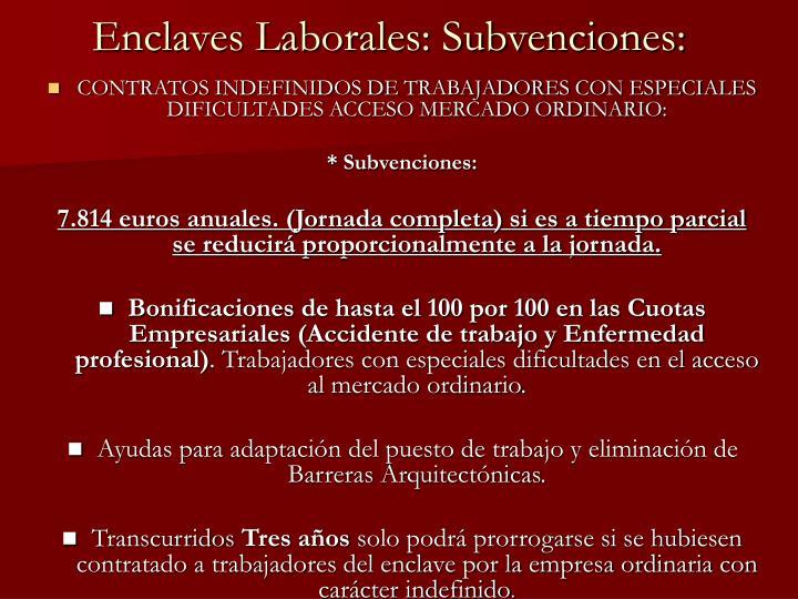 Enclaves Laborales: Subvenciones: