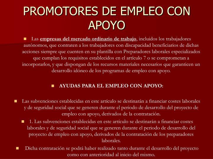 PROMOTORES DE EMPLEO CON APOYO