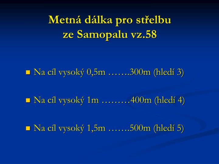 Metná dálka pro střelbu                    ze Samopalu vz.58
