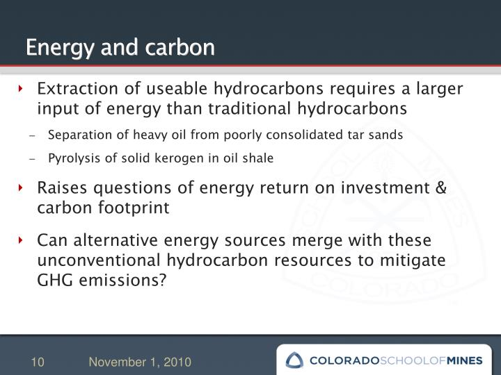 Energy and carbon