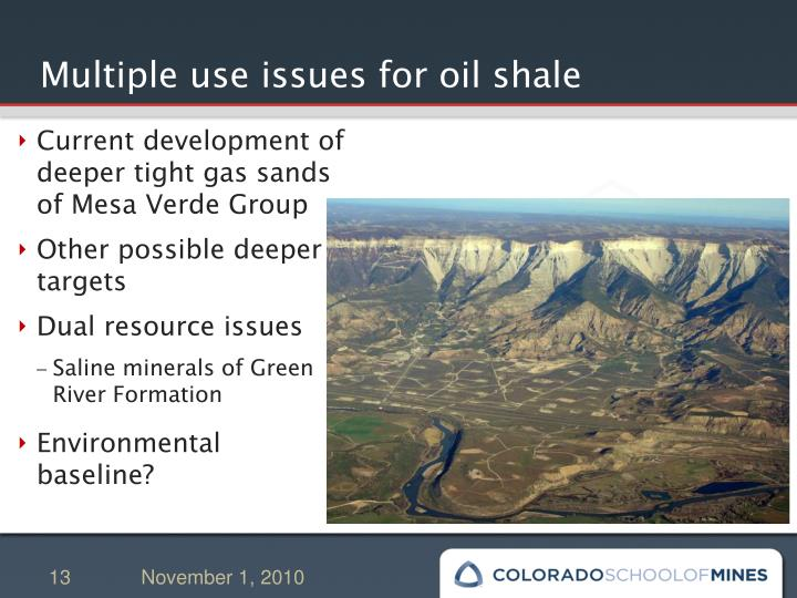 Multiple use issues for oil shale