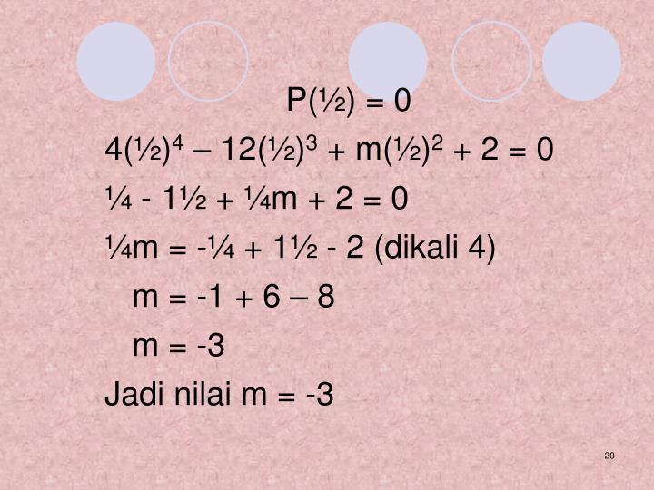 P(½) = 0