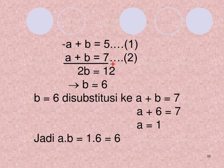 -a + b = 5.…(1)