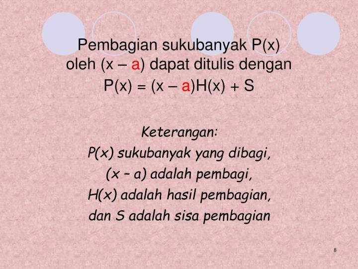 Pembagian sukubanyak P(x)