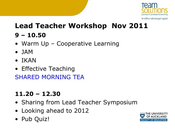 Lead teacher workshop nov 2011