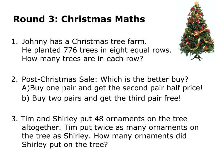 Round 3: Christmas Maths