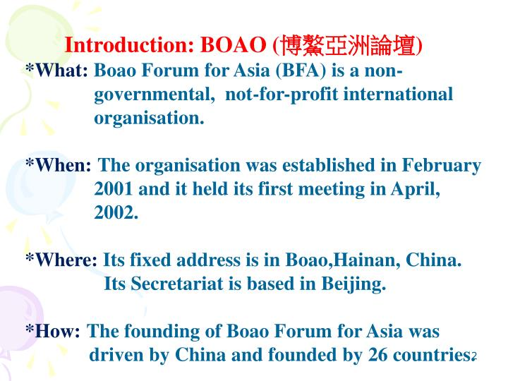 Introduction: BOAO