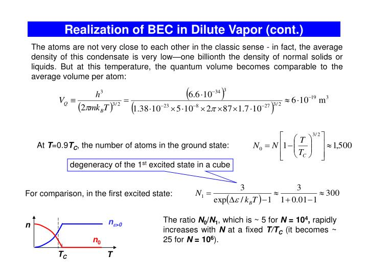 Realization of BEC in Dilute Vapor (cont.)