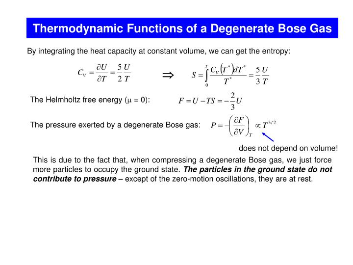 Thermodynamic Functions of a Degenerate Bose Gas