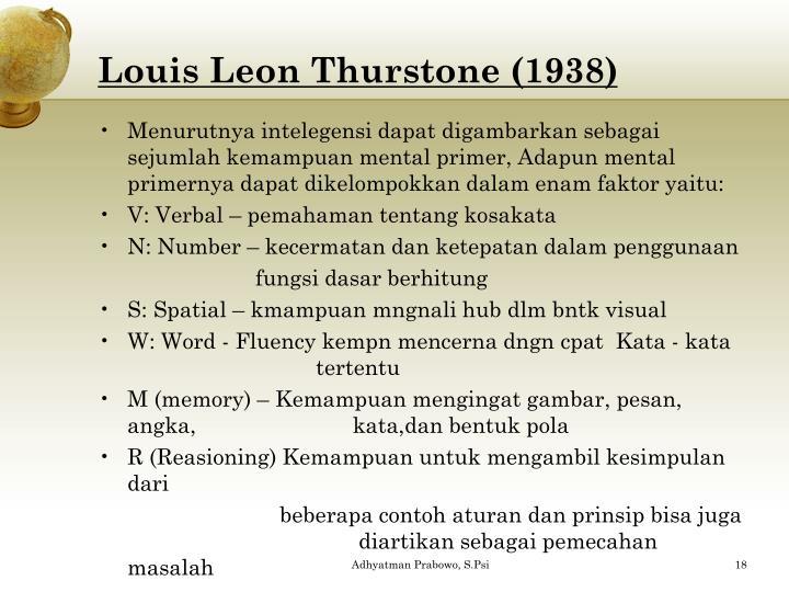Louis Leon Thurstone (1938)