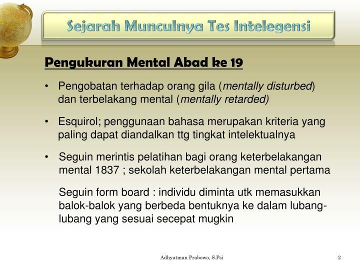 Sejarah Munculnya Tes Intelegensi