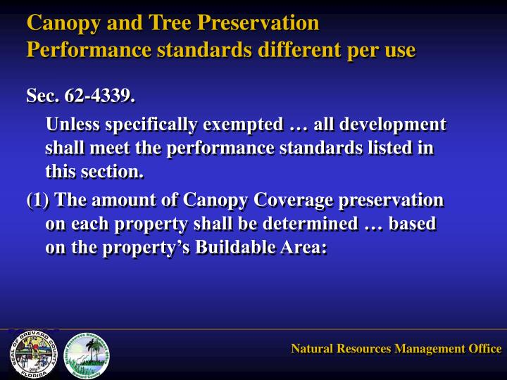 Canopy and Tree Preservation Performance standards different per use