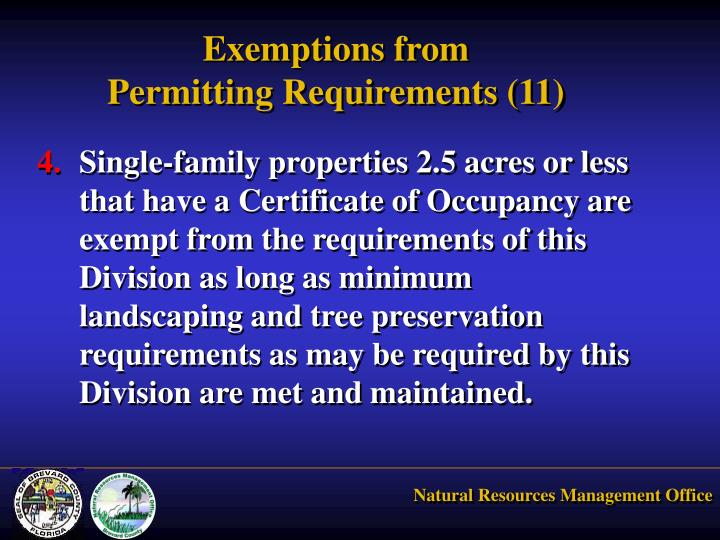 Exemptions from