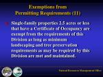 exemptions from permitting requirements 111
