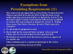 exemptions from permitting requirements 112