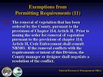 exemptions from permitting requirements 115