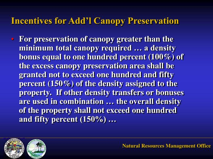Incentives for Add'l Canopy Preservation
