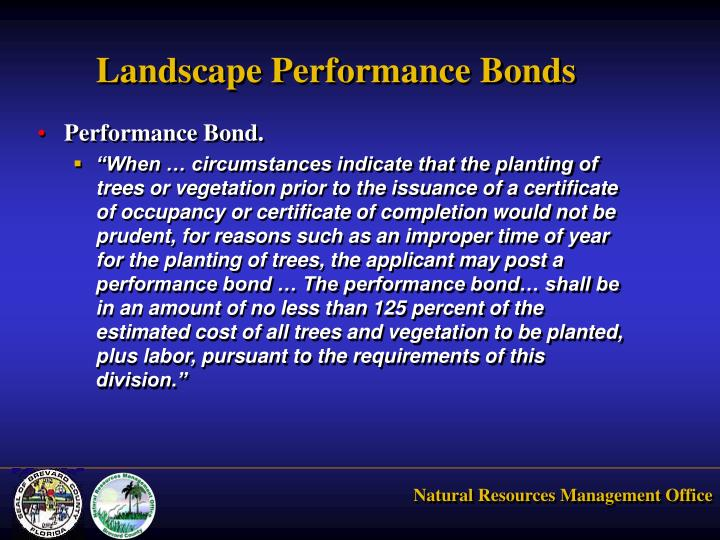 Landscape Performance Bonds