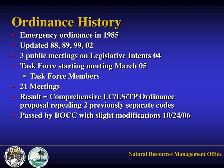 Ordinance history