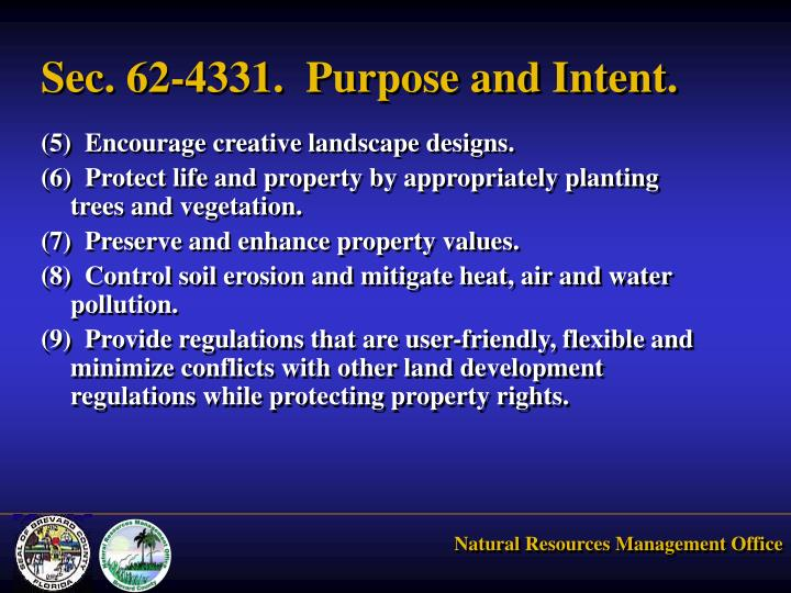 Sec. 62-4331.  Purpose and Intent.