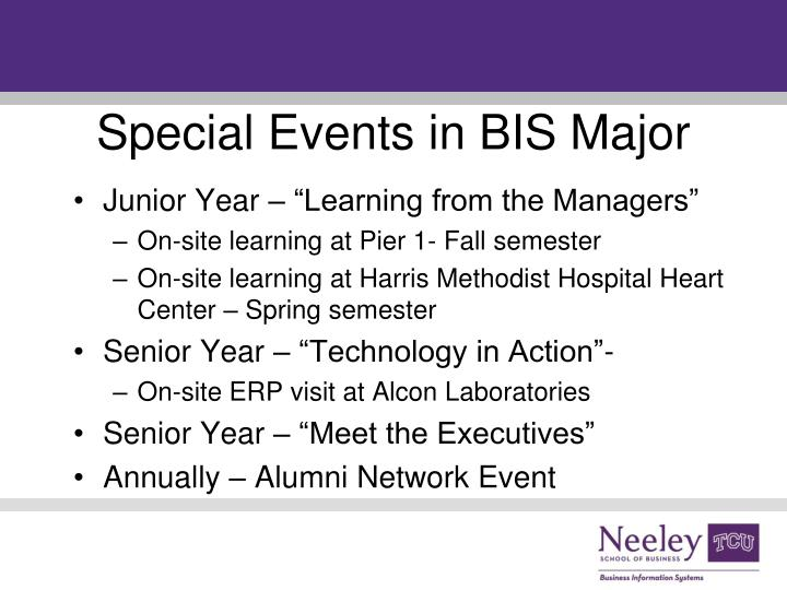 Special Events in BIS Major