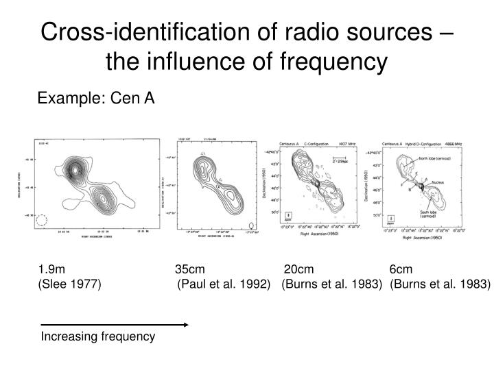 Cross-identification of radio sources – the influence of frequency