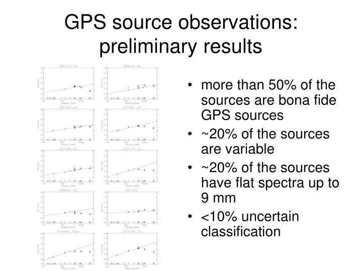 more than 50% of the sources are bona fide GPS sources
