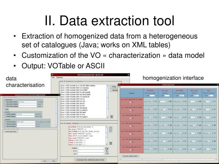 II. Data extraction tool
