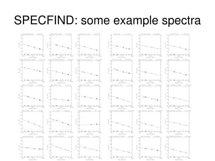 SPECFIND: some example spectra