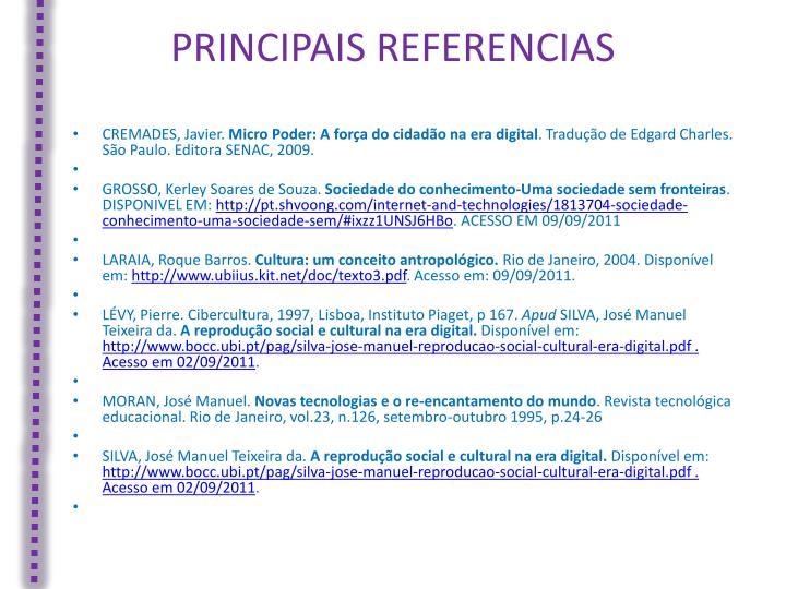 PRINCIPAIS REFERENCIAS