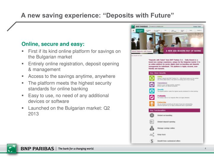 "A new saving experience: ""Deposits with Future"""