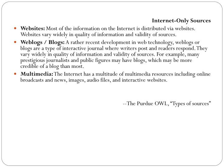 Internet-Only Sources