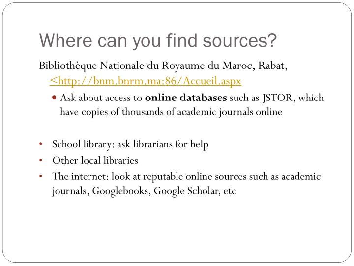 Where can you find sources?