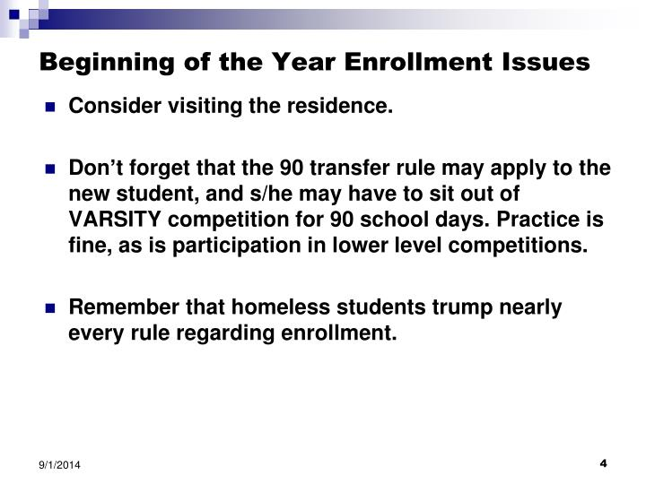 Beginning of the Year Enrollment Issues