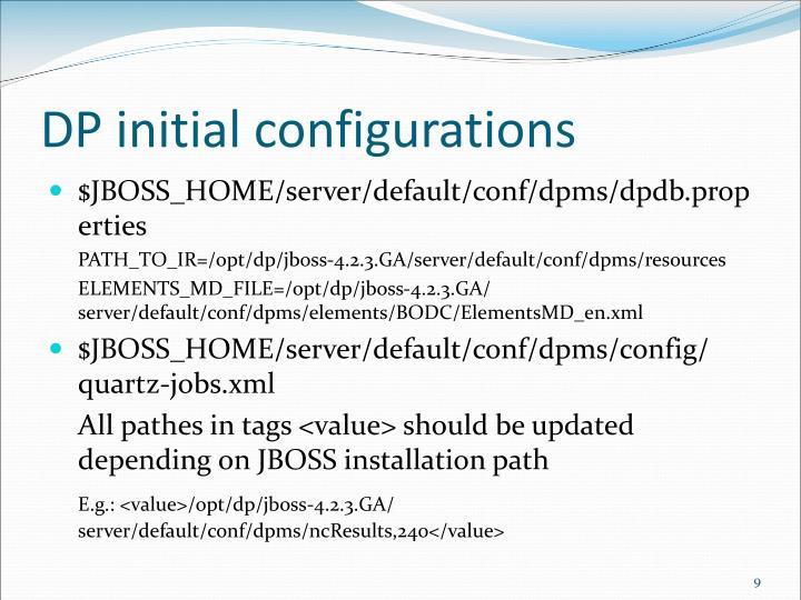 DP initial configurations