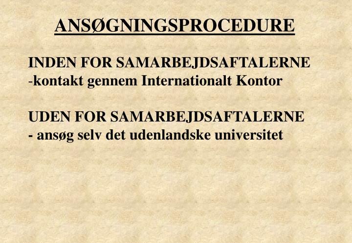 ANSØGNINGSPROCEDURE