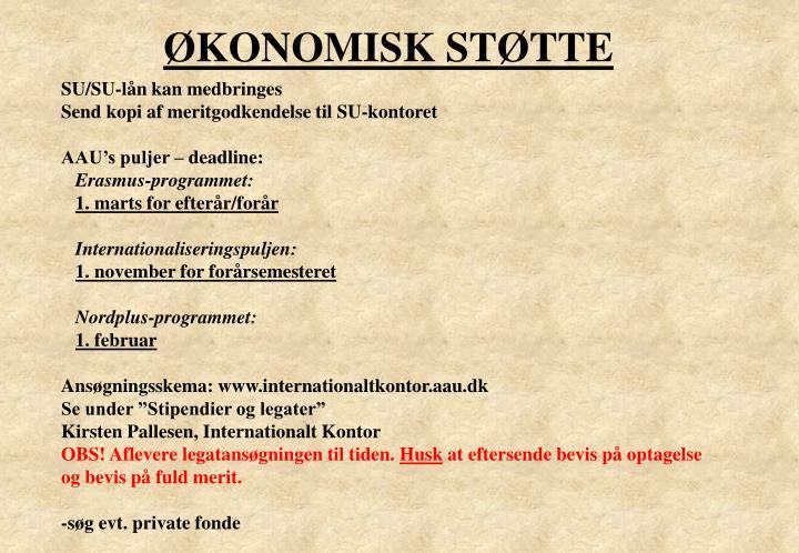 ØKONOMISK STØTTE