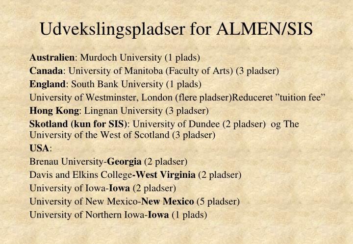 Udvekslingspladser for ALMEN/SIS