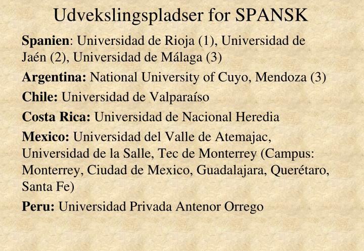 Udvekslingspladser for SPANSK