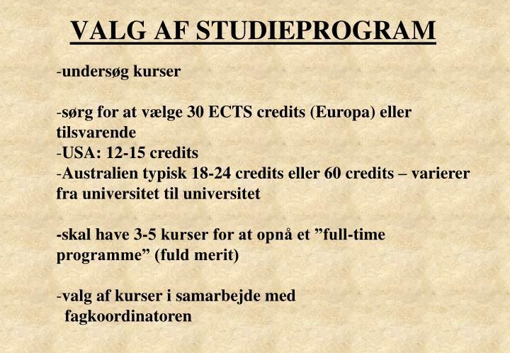 VALG AF STUDIEPROGRAM